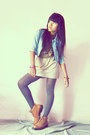 Gats-cruisse-boots-sky-blue-jacket-beige-diy-skirt