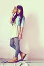 Beige-diy-skirt-gats-cruisse-boots-sky-blue-jacket-light-brown-diy-top
