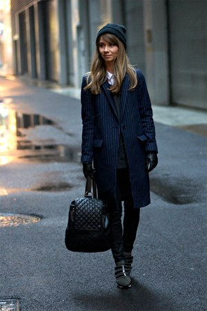black rag & bone jeans - navy JCrew coat - black MellowWorld bag