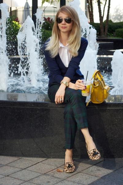 v-neck Forever 21 sweater - H&M blouse - Loft pants
