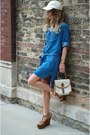 Navy-bella-dahl-dress-off-white-free-people-hat