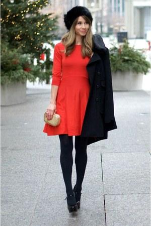 black coat - red sweater a-line dress - black faux fur hat River Island hat