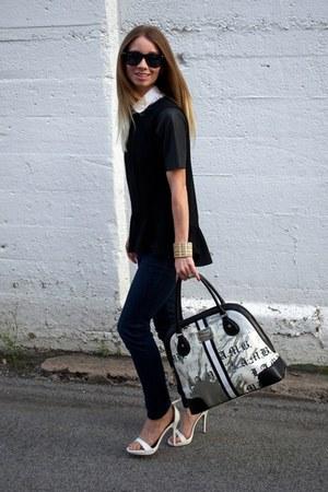 black wayfarer ray-ban sunglasses - navy skinny jeans Loft jeans