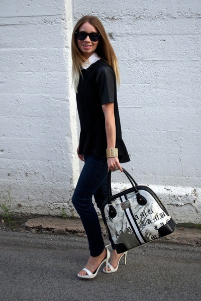 white michael antonio sandals - navy skinny jeans Loft jeans