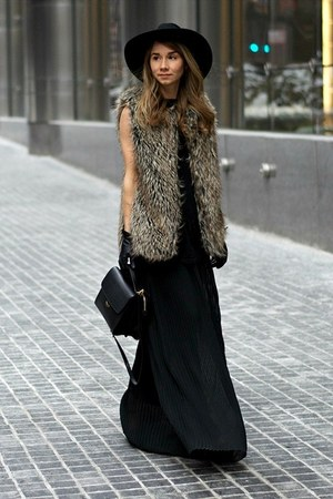 black asos dress - black asos hat - black Fendi bag
