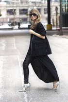 silver metallic pumps Elizabeth and James heels - black ann taylor pants