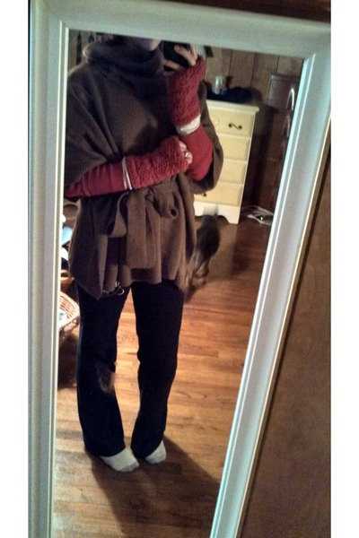 brown H&M cape - ruby red Gap sweater