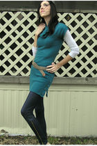 blue dress - blue leggings - brown belt - gold shoes - gray jacket