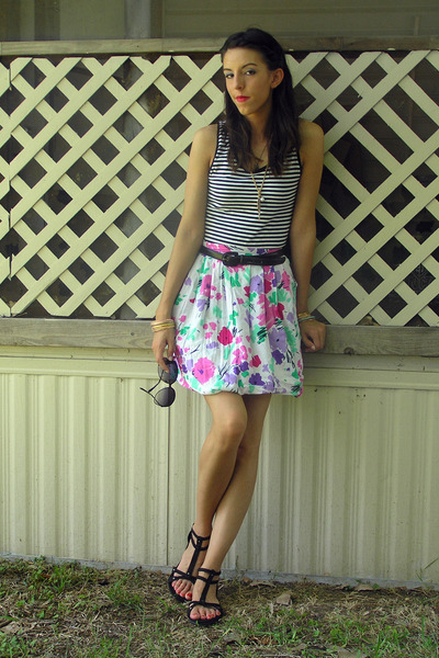 white Norma Kamali top - white thrifted skirt - black thrited belt - black Forev