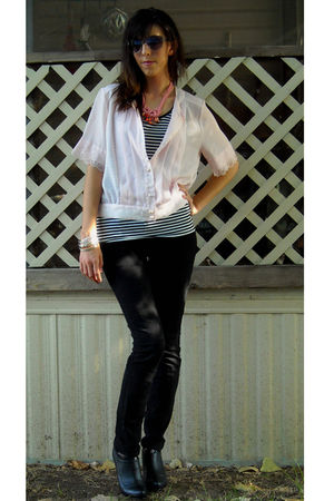 pink thrifted top - black Norma Kamalif top - black Empyre jeans - black Forever