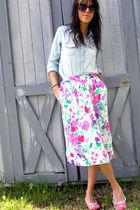 blue Miley Cyrus shirt - white skirt - pink Steve Madden shoes