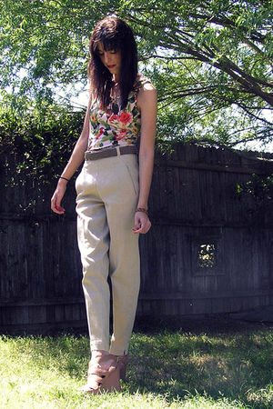 green Forever 21 shirt - brown belt - beige ann taylor pants - beige Forever 21