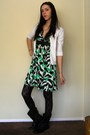 Black-boots-green-empire-waist-unkown-dress-black-tights-white-cardigan