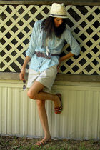 blue MileyMax shirt - white thrifted top - brown dollar general shoes - white Fo