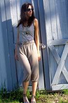 white Norma Kamali shirt - beige pants - gold belt - gold Dollhouse shoes