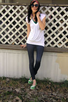 red accessories - green top - white t-shirt - blue leggings - green Roxy shoes