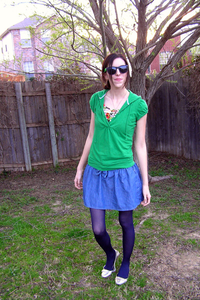 white Forever 21 dress - green Ross shirt - blue Forever 21 skirt - blue tights