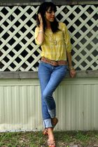 yellow shirt - gold belt - blue Bullhead jeans - brown shoes