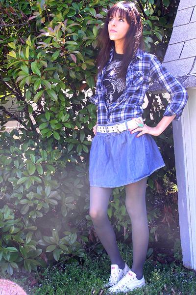black Metal Mulisha t-shirt - blue Walmart shirt - blue Forever 21 skirt - gray