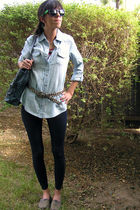 blue Miley CyrusWalmart shirt - blue Miley CyrusWalmart leggings - blue purse -