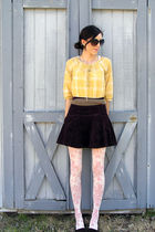 yellow shirt - brown belt - white Forever 21 tights - brown shoes