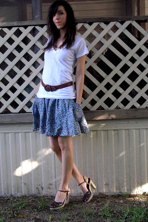 white Threads For Thought t-shirt - blue thrifted dress - brown thrifted belt -