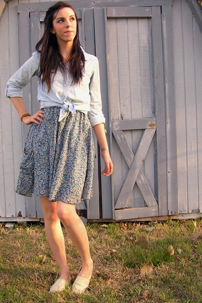 white TOMS shoes - blue thrifted dress - light blue chambray shirt