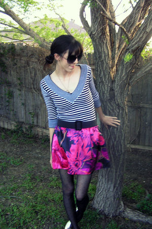 white top - pink skirt - black Target tights - gold Wanted shoes