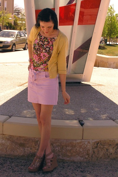 yellow thrifted cardigan - pink thrifted top - light pink thrifted skirt - tan F