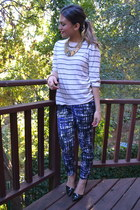 striped Gap sweater - graphic print H&M pants - Aldo heels