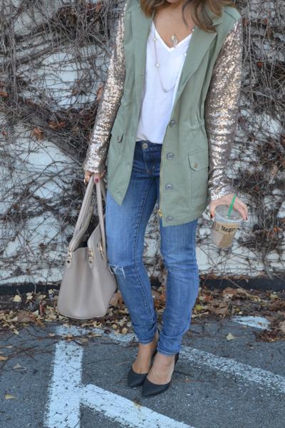 Nasty Gal blazer - jeans - slingback heels - 443 Jewelry necklace