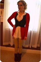 red parrots Inheritance earrings - dark brown GoJane boots - white Ebay shirt