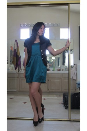 teal dress - black lined with red blazer - black 5 in heel heels