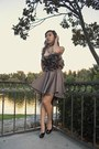 Light-brown-liz-lee-dress-black-black-shoedazzle-heels