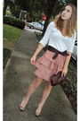 Pink-urban-outfitters-skirt-beige-old-navy-sweater-brown-nanette-lepore-belt