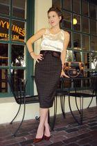 beige my own creation top - brown kensie skirt - brown Marc Fisher shoes - brown