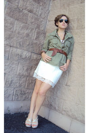 green Old Navy jacket - white Target skirt - white Charles David shoes