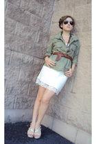 green Old Navy jacket - white Target skirt - white Charles David shoes