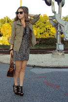 black INC dress - green Old Navy jacket - black Dooney and Bourke bag - black Al
