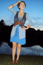 blue banana republic dress - blue Old Navy cardigan - blue Old Navy vest - brown