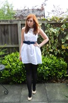 white crocheted Pop Couture dress - navy waist belt new look belt
