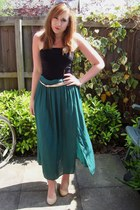 maxi skirt next skirt - new look wedges - strapless Primark top