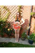 red peplum mina skirt - nude cats eye Zara sunglasses - black crop Primark top