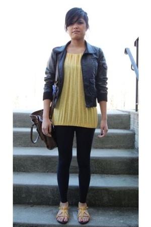 blouse - H&M jacket - leggings - Steve Madden shoes - Kimchi&Blue purse