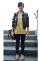 blouse - H&M jacket - leggings - Steve Madden shoes - Kimchi&Blue purse