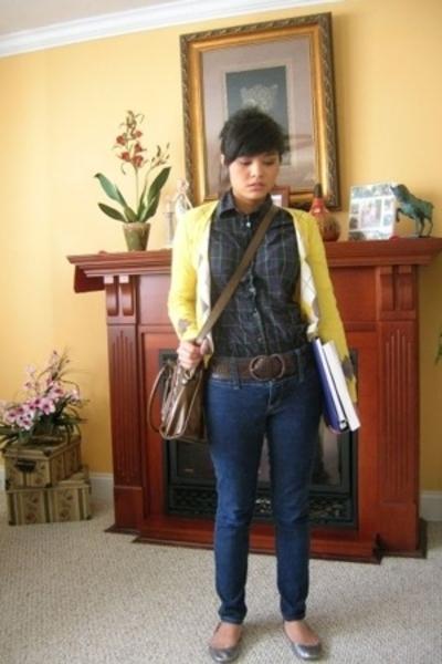 Esprit sweater - Tommy Hilfiger shirt - random jeans - Kimchi&Blue purse - belt
