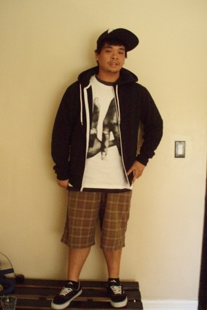 Old Navy jacket - Estevan Oriol shirt - RVCA hat - Machine shorts - Vans shoes
