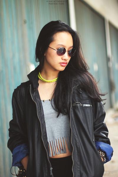 jacket - sunglasses - spikes bracelet