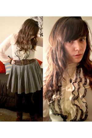 pleated cotton skirt - blouse - belt