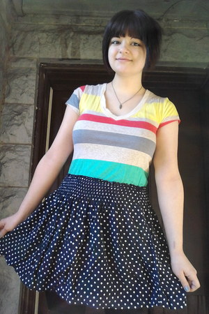 polka-dot Maurices skirt - faux-suede Route 66 boots - striped OP t-shirt